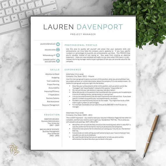 Modern Resume Template for Word and Pages / Creative, Modern Resume