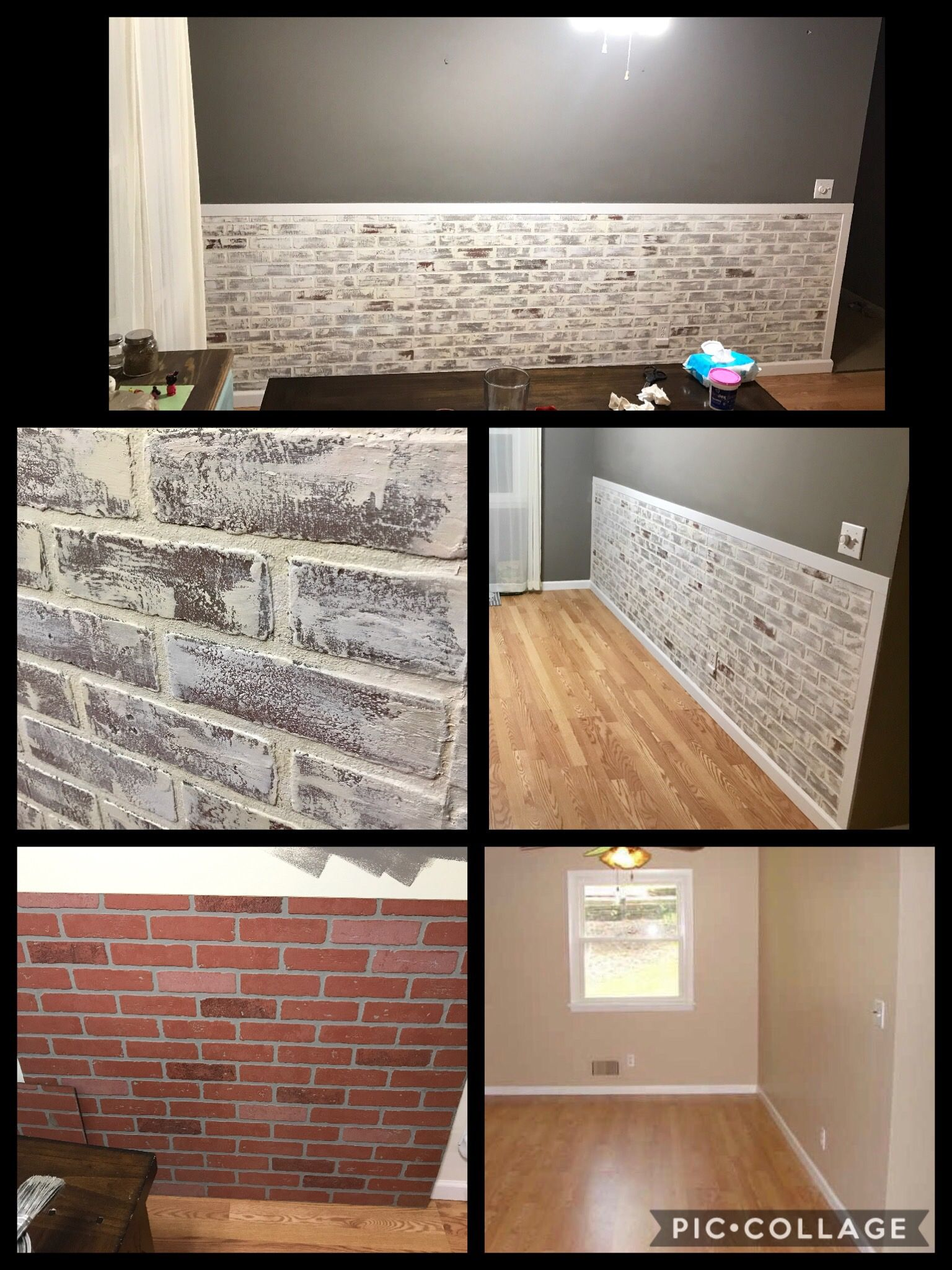 It All Started With Red Brick Paneling From Home Depot Whitewash And Dry Brushing Technique To Get This Lo Faux Brick Walls Brick Wall Paneling Brick Paneling