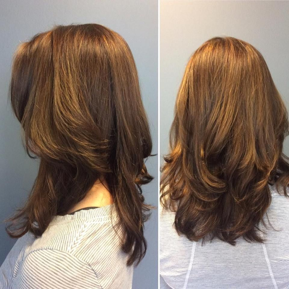 Caramel hair color boy brunette bombshell by michelle color crystallizing and cut