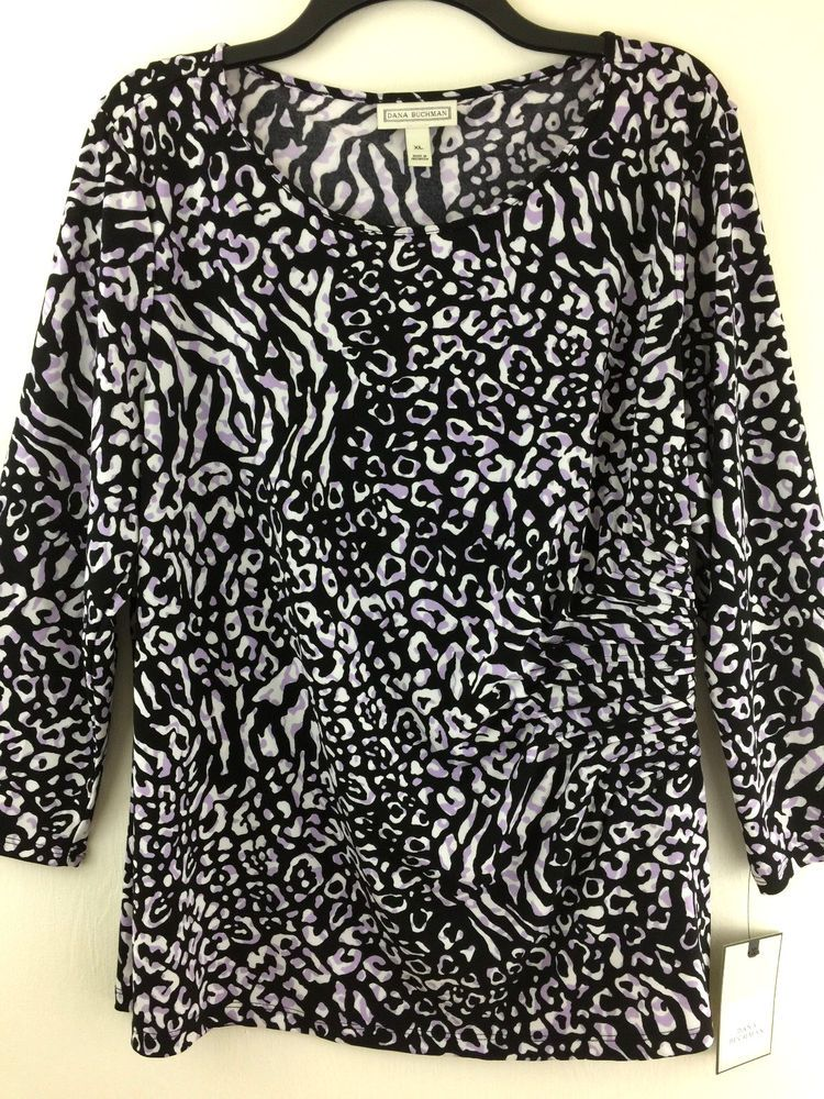 8d0ff6c84d483 New Dana Buchman Top XL Womens Animal Print Ruched Side Black Lavender  Stretchy  DanaBuchman  KnitTop  Casual