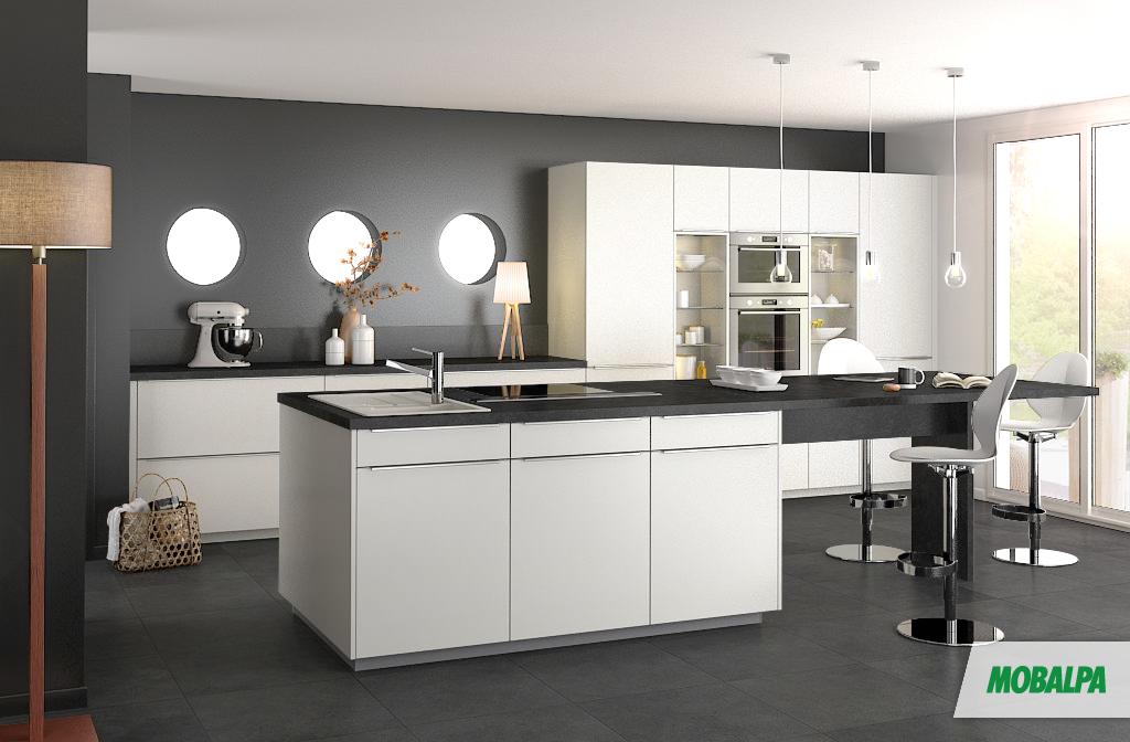 Cuisine : murs gris foncés, meubles blancs et plan de travail gris ...