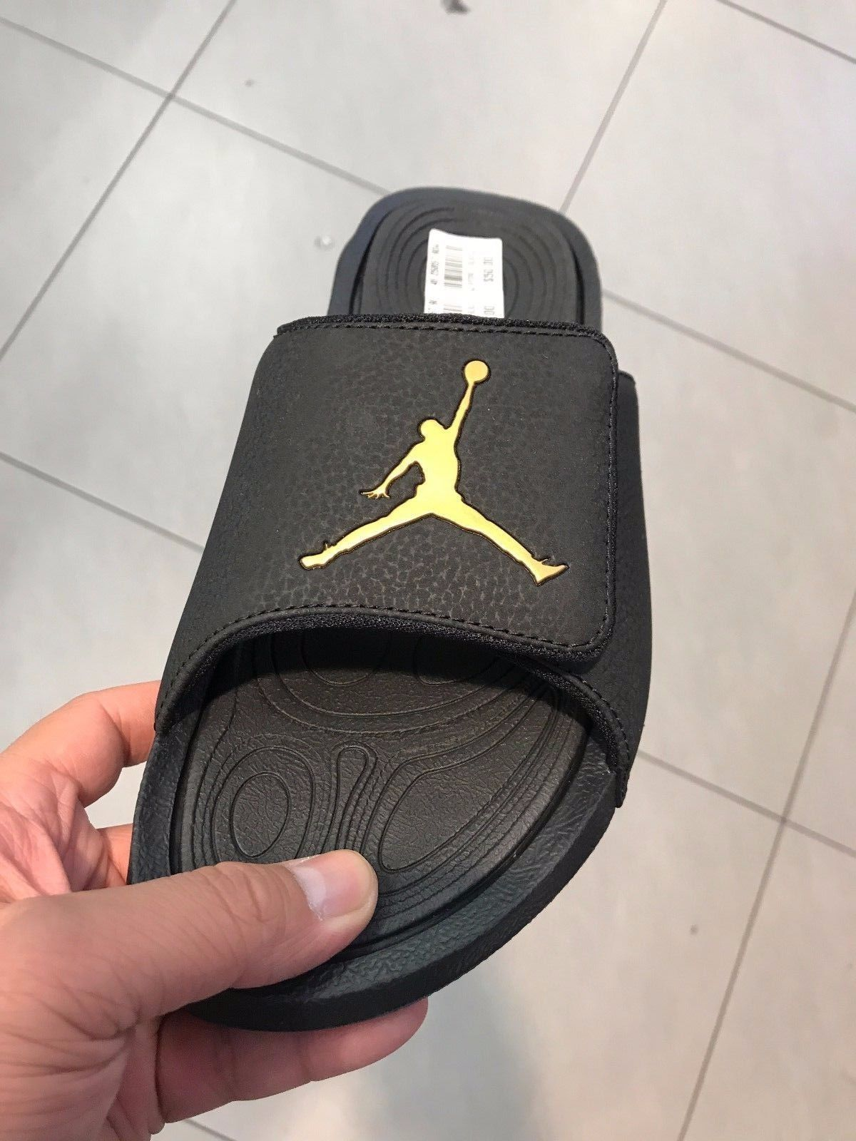 hot sale online 5f3e6 3b04f Details about Nike Jordan Hydro 7 V2 Black Gold Men Sports ...