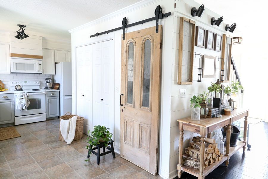 Antique Pantry Door On Sliding Barn Door Hardware With Full Installation  Instructions  By Plum Pretty