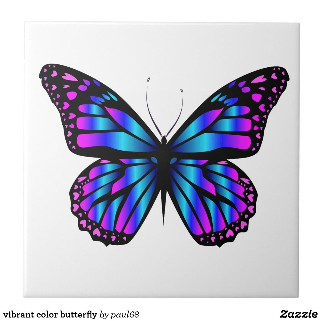 Vibrant Color Butterfly Ceramic Tile Zazzle Com In 2021 Butterfly Drawing Butterfly Painting Butterfly Coloring Page [ 1106 x 1106 Pixel ]