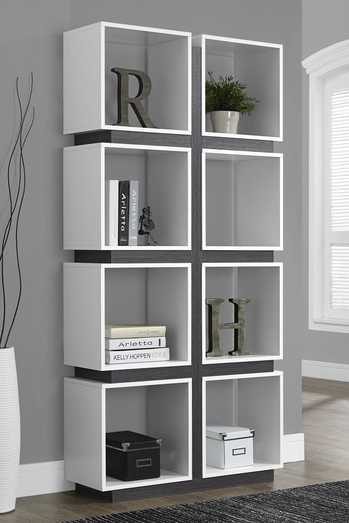 Whitegrey eight cube bookcase by monarch specialties details give