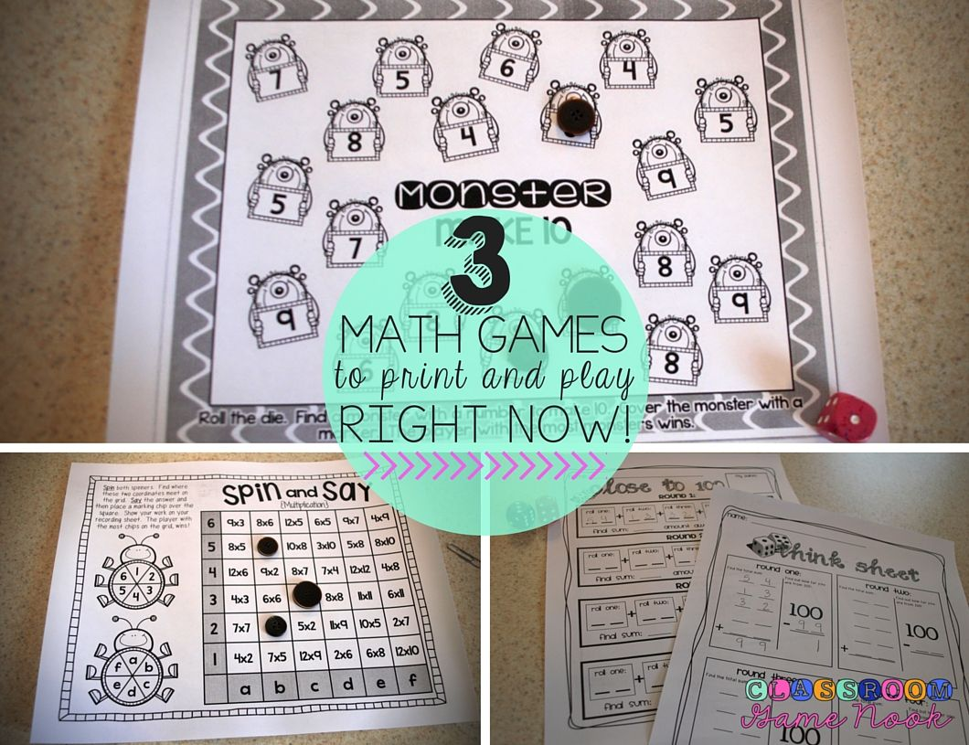 3 FREE printable math games available right now! Simply print and ...