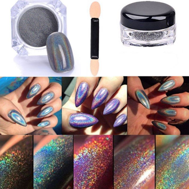 Extra Fine Holographic Chrome Nail Art Powder: 2G Holographic Rainbow Nails Effects Ultra Fine Chrome