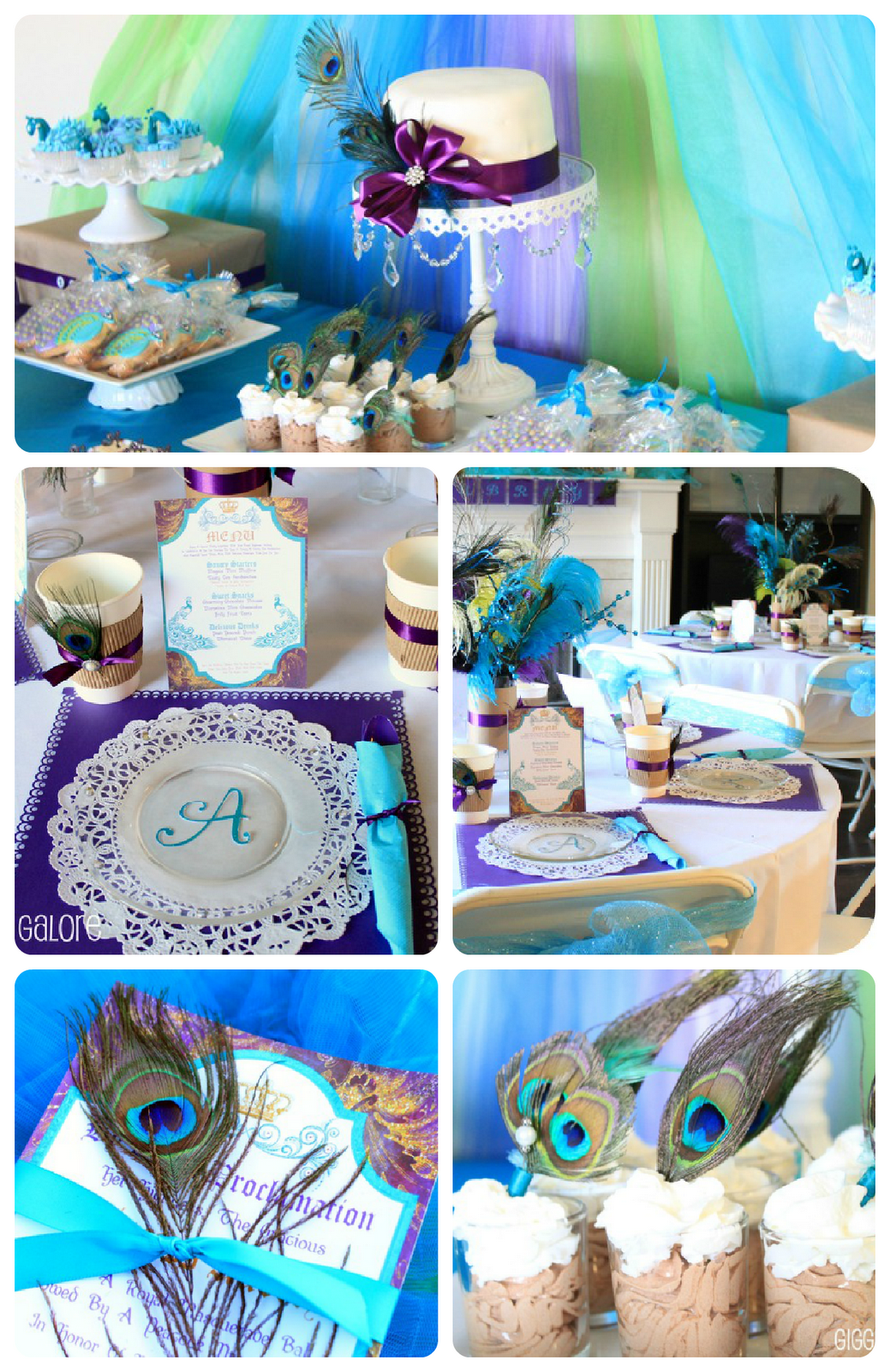 wedding shower decor ideas maybe not all the peacock feathers but the colors