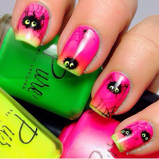 Spiders w/gradient | uñas | Pinterest | Difuminar, Arte de uñas y ...