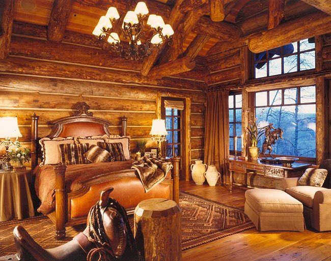 Master, built by Custom Log Homes, Victor, Montana