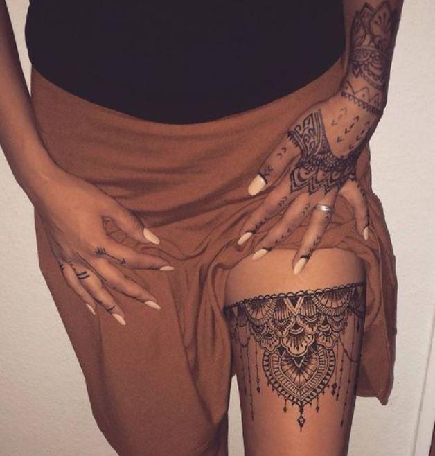 tatuaggio,mandala,donna,sulla,coscia , Lei Trendy