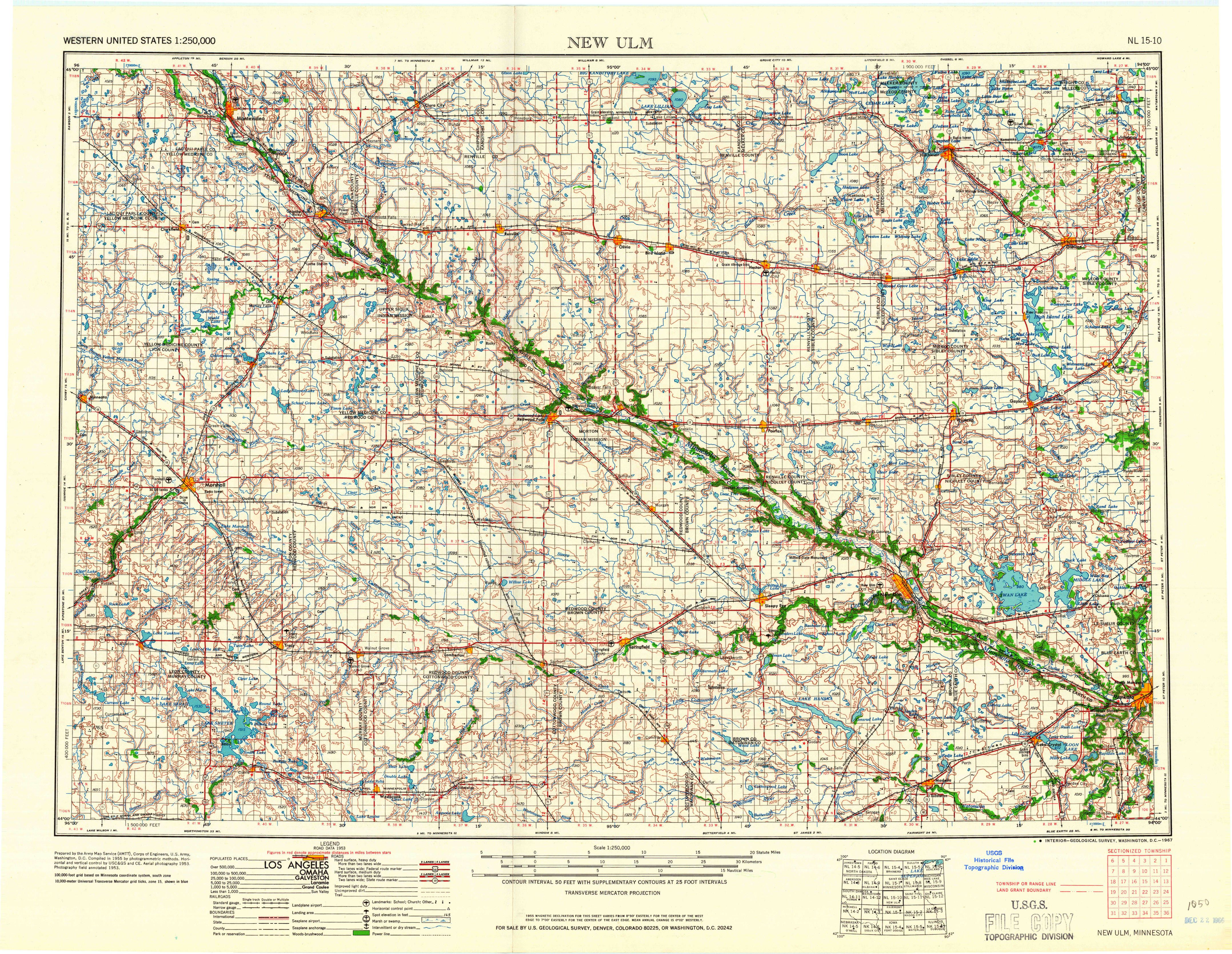 New Ulm, MN—1967. Map from the USGS Historical Topographic Map ...
