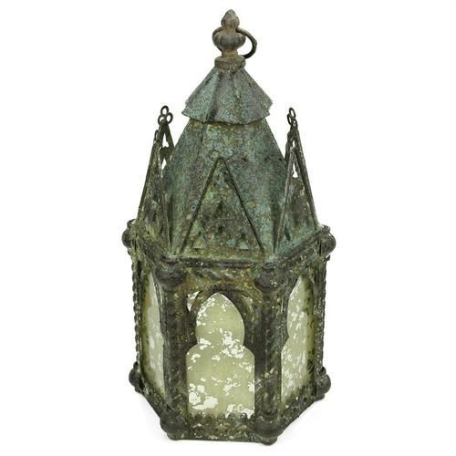 """17.25"""""""" Antique Weathered Verdigris Style Church Hanging Taper Candle Lantern"""
