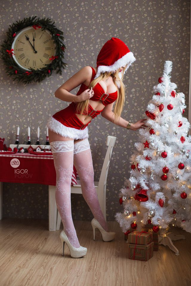 Amusing girl naughty santa merry christmas