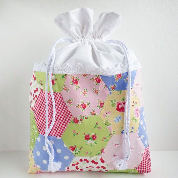 MEDIUM Hexies Patchwork Drawstring Bag - 'Pam Kitty Picnic ...
