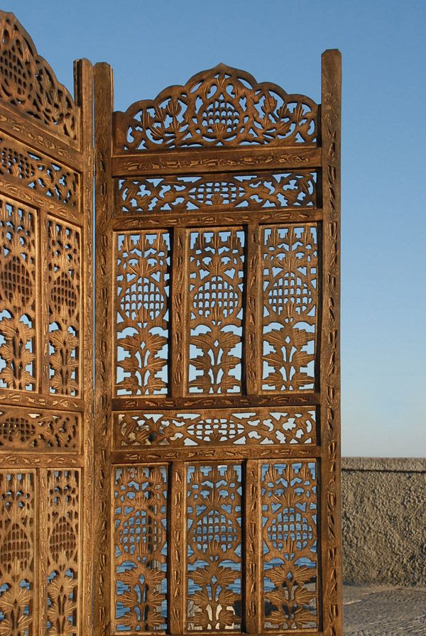 4 Panel Indian Hand Carved Wooden Screen Room Divider K