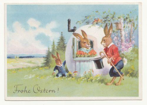 Ak-vermenschlichte-Hasen-mit-Eier-Haus-Frohe-Ostern-um-1949-A823