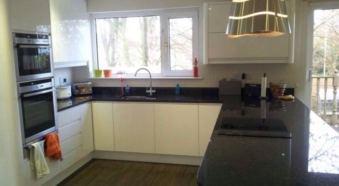 cream kitchens with black worktops - Google Search | kitchen ... on black with white kitchen floor, black with white doors, black with white drawers,