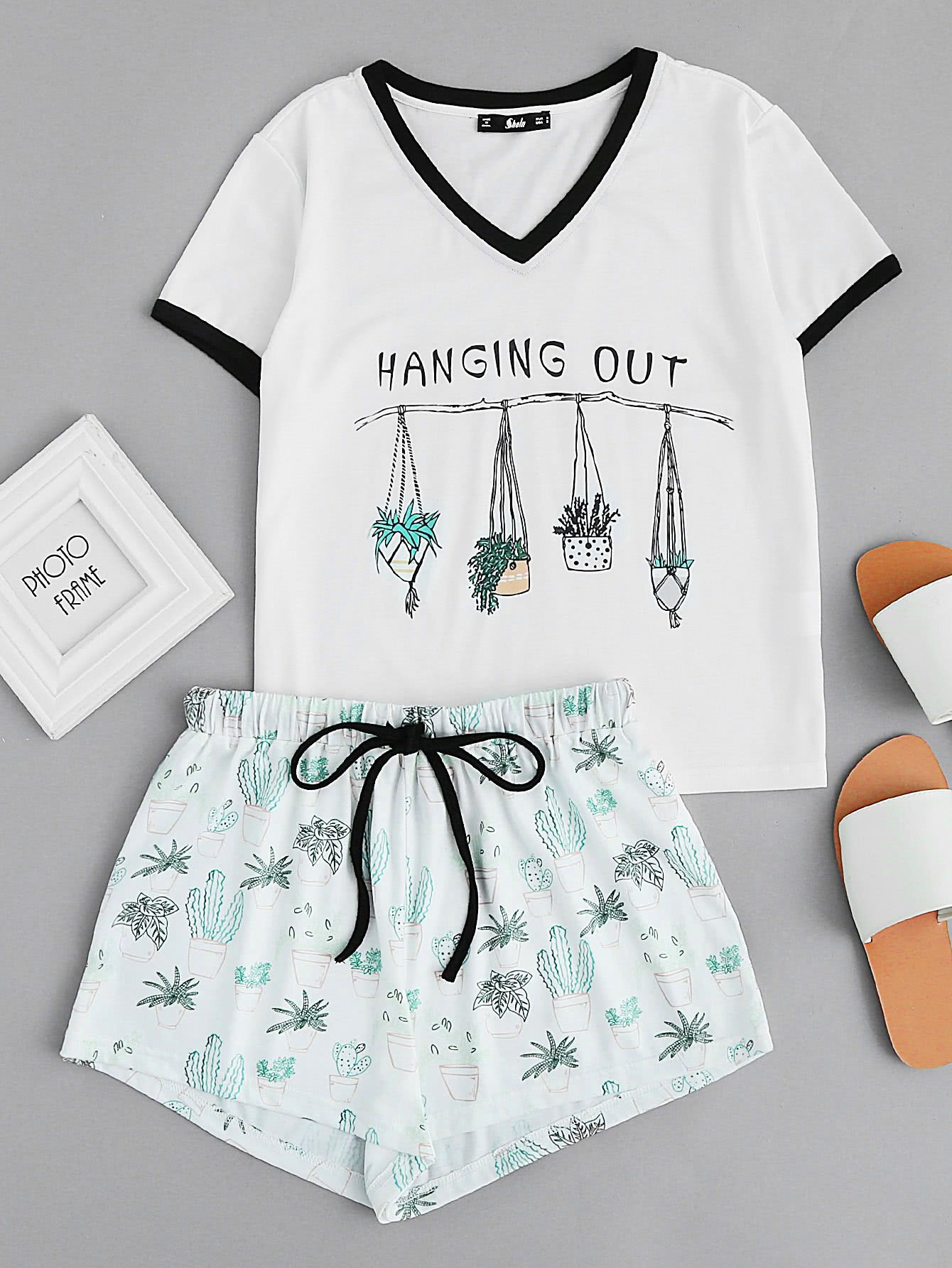 ac48dc0a37 Shop Graphic Ringer Tee And Drawstring Shorts Pajama Set online. SheIn  offers Graphic Ringer Tee And Drawstring Shorts Pajama Set   more to fit  your ...