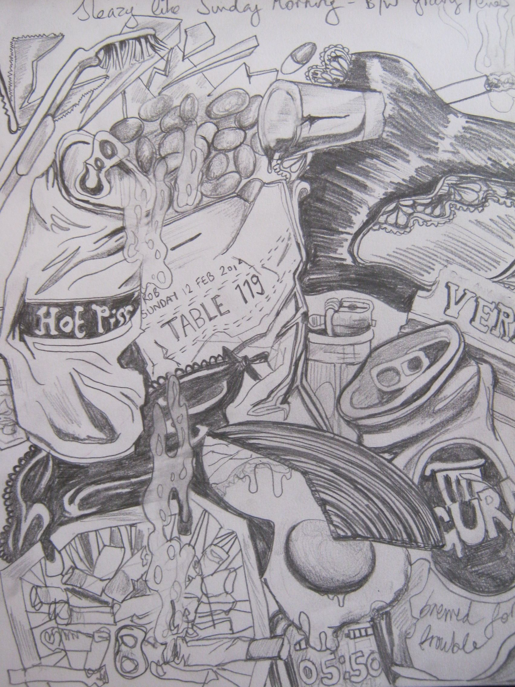 Sketchbook page pencil sketch for monochrome t shirt print sleazy like sunday morning