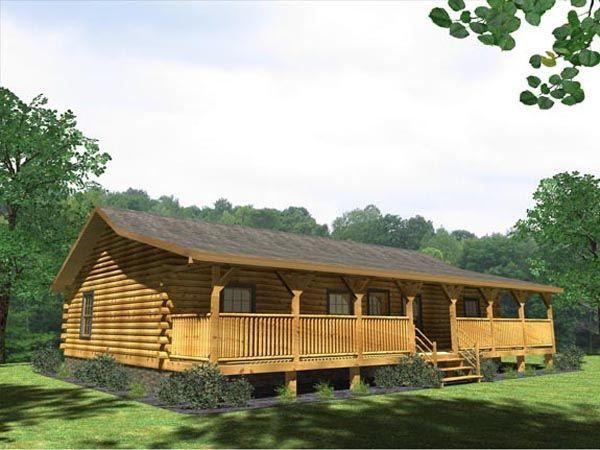 Newport Log Home Plan LogHomecom Nice Single story rancher