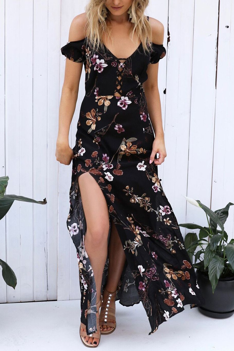 Floral fields printed high slit maxi dress country girl life