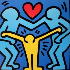 keith haring affiche d 39 art famille unie 1 haring in. Black Bedroom Furniture Sets. Home Design Ideas
