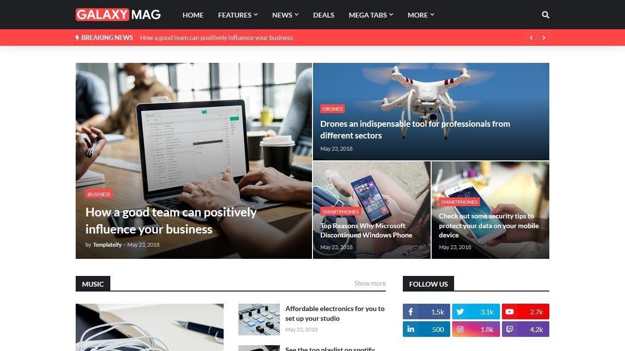 Galaxy Mag Responsive Blogger Template Download Free Blogger Templates Magazine Blogger Template Blogger Templates