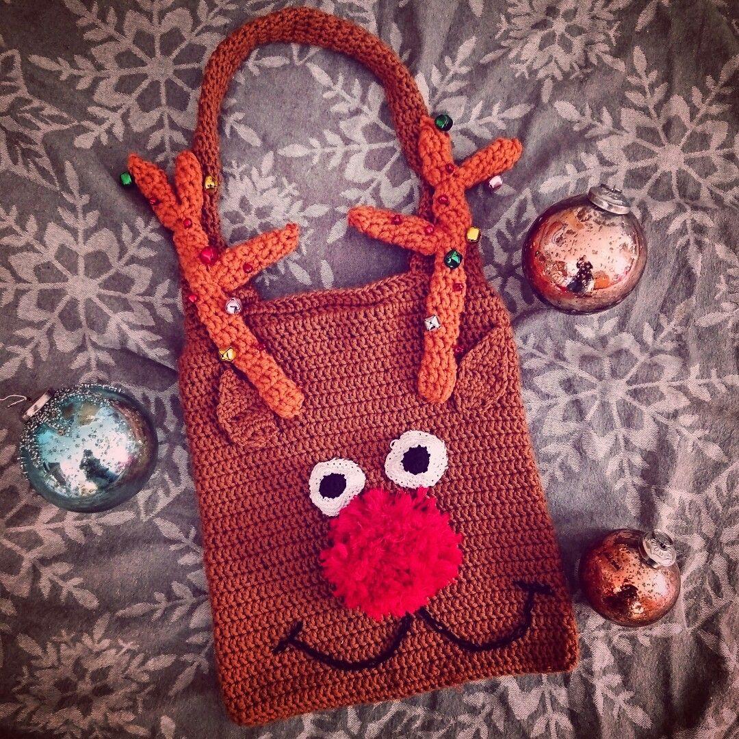 Christmas handbag, crochet Rudolph / Weihnachtliche Handtasche, Häkelhandtasche