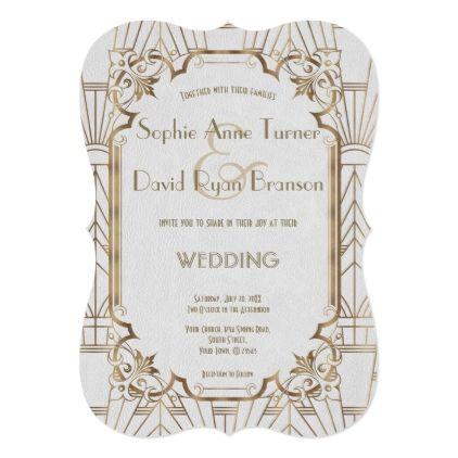 White Gold Great Gatsby Art Deco 1920s Wedding Card gold wedding