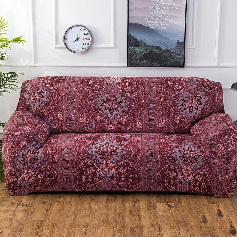 Red Bohemian Floral Pattern Sofa Couch Cover DecorZee