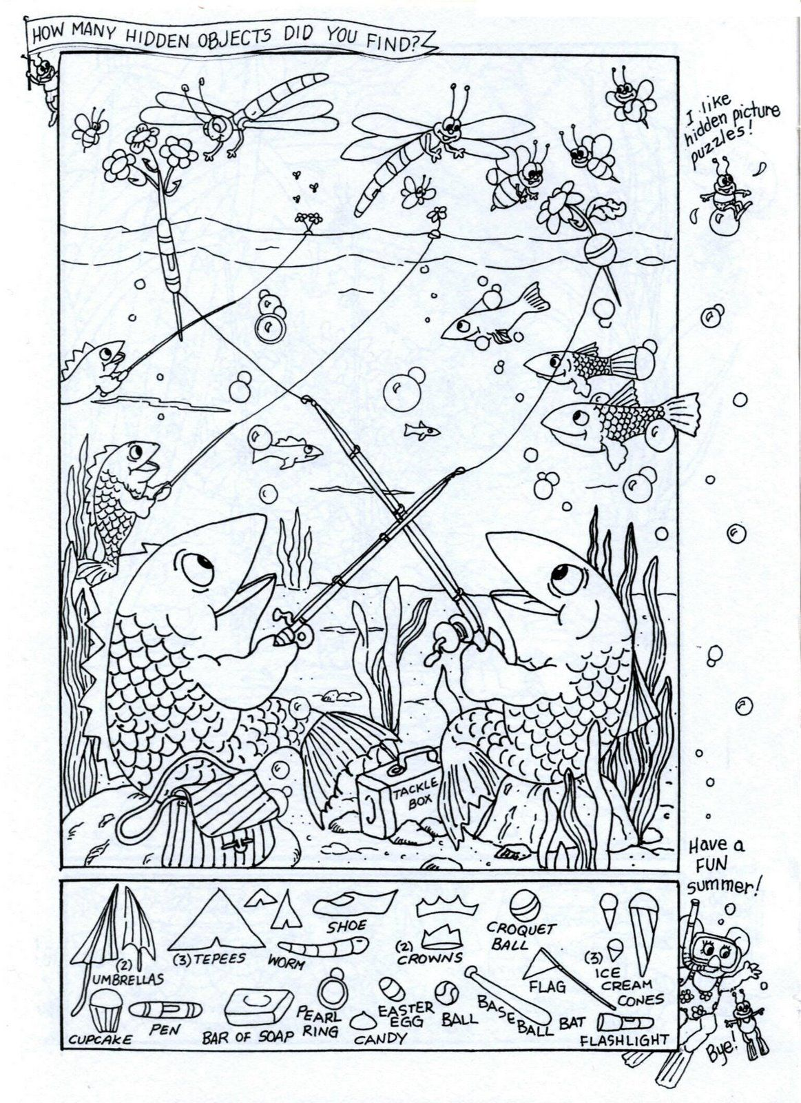 Summer Fun - Hidden Picture Puzzle/Coloring Page | Puzzles ...