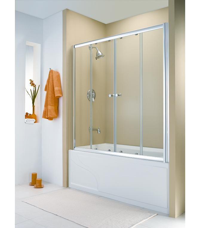 Bathtub sliding door with aluminium frame and panel glass | Bathroom ...