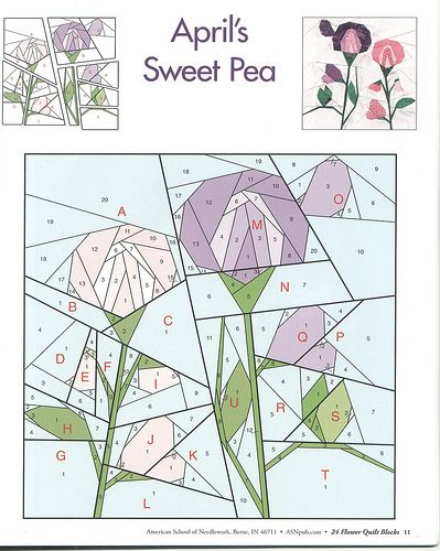 24 flower quilt blocks 11 | Nähen auf Papier, Patchwork und Piercing