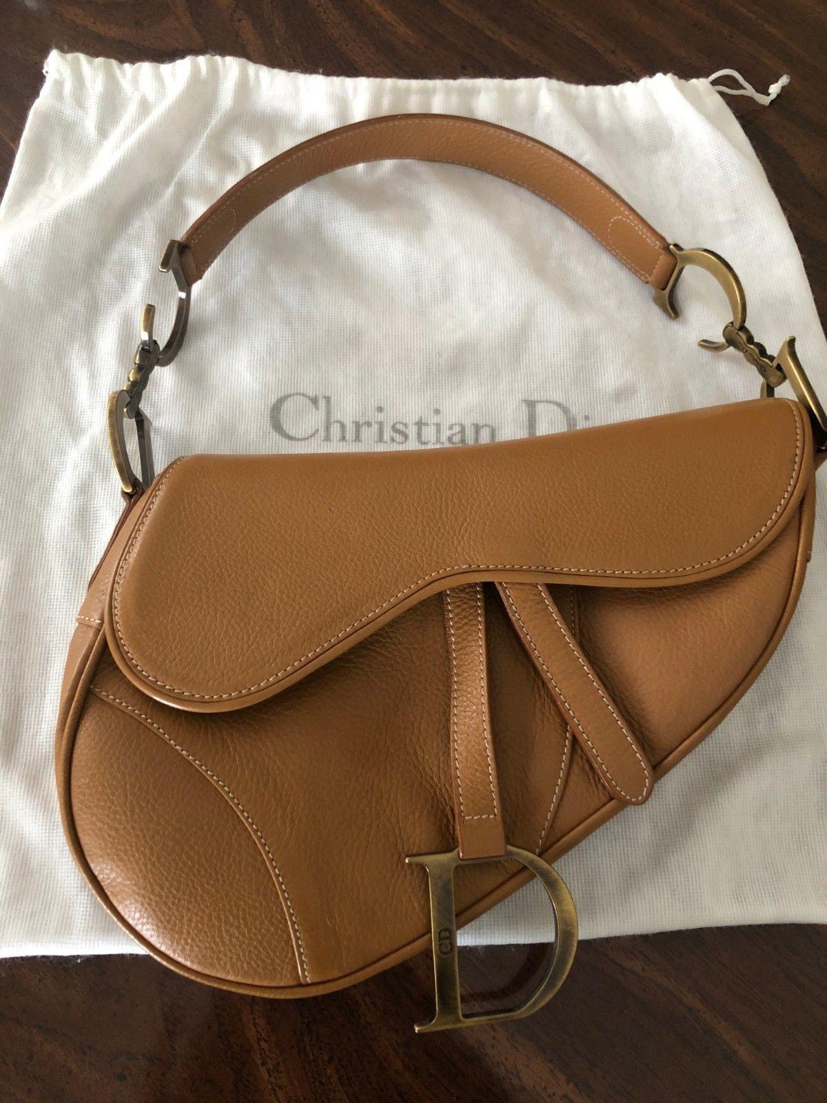 4e455be6afbc9 Christian Dior Saddle Bag in Beige Leather