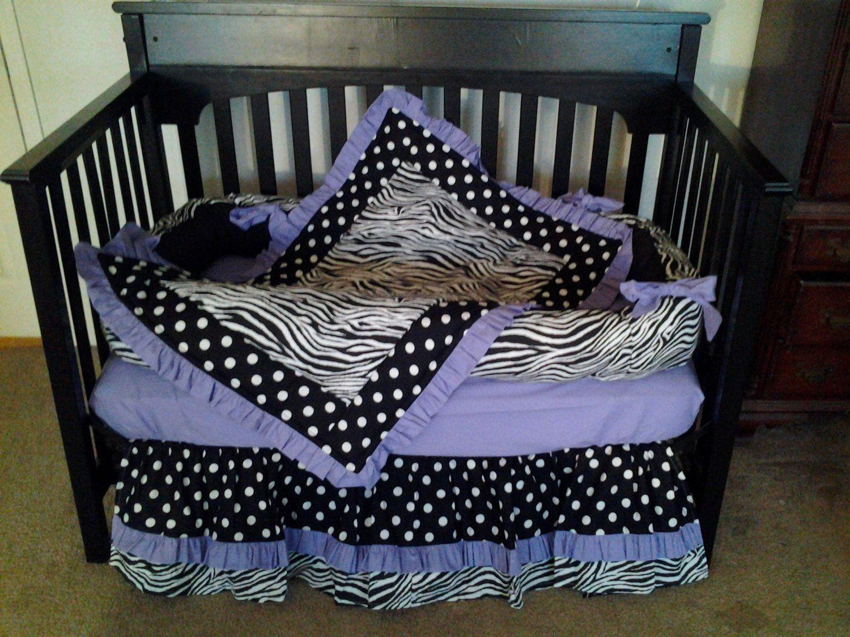 Baby crib zebra bedding - New Baby Crib Bedding Set In Zebra Polka Dot And Solid Lavender Light Purple Fabric