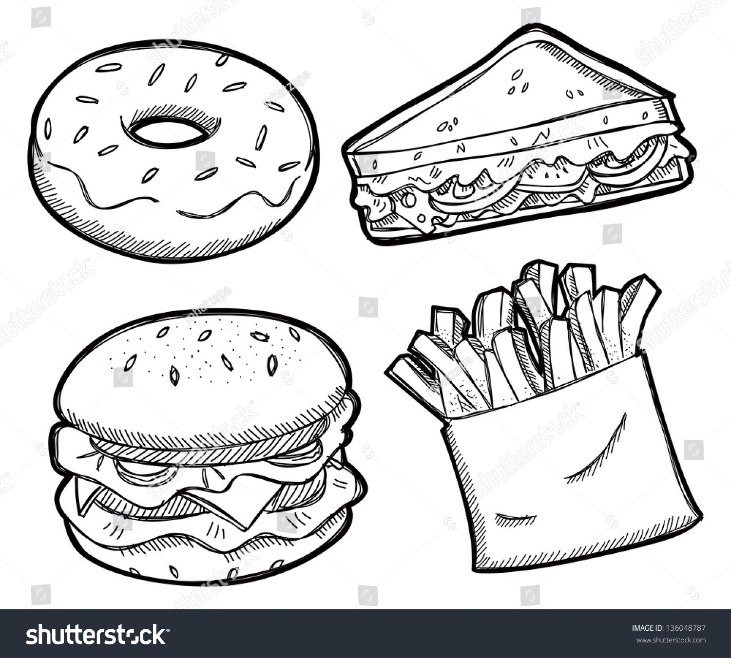 Set Of Unhealthy Food Ad Sponsored Set Unhealthy Food Food Clipart Cute Coloring Pages Unhealthy Food