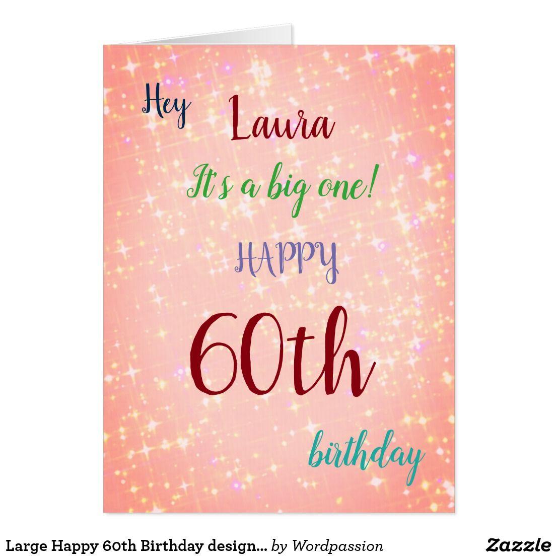 Large Happy 60th Birthday Design Greeting