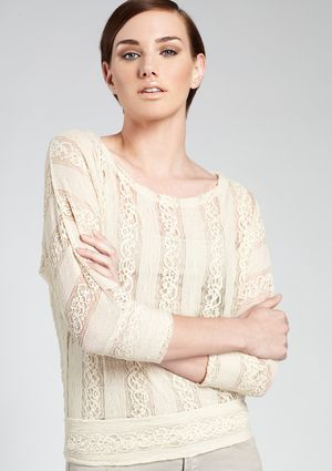 POOF Long Sleeve Lace Open Back Top with Banded Bottom
