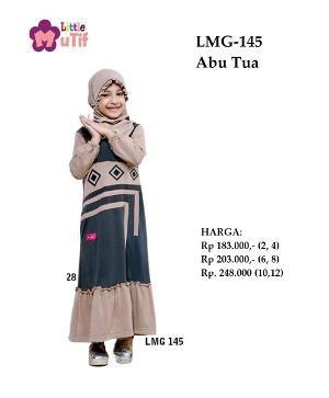 Baju Muslim Anak Gamis LMG 145 Abu Tua - Ramadhan Sale
