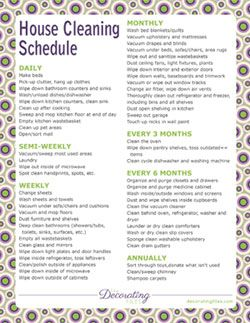Printable House Cleaning Schedule  Organization