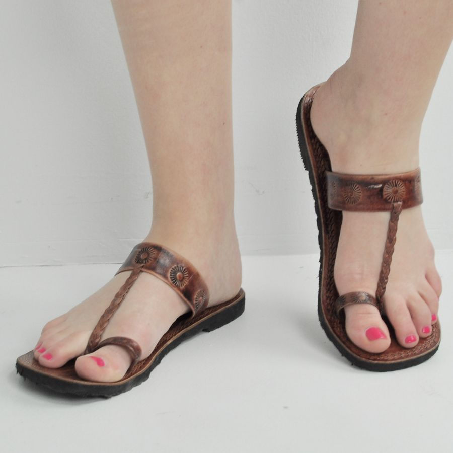 Ethical Fashion | Hippie Clothing for Women. Toe Loop SandalsBrown ...