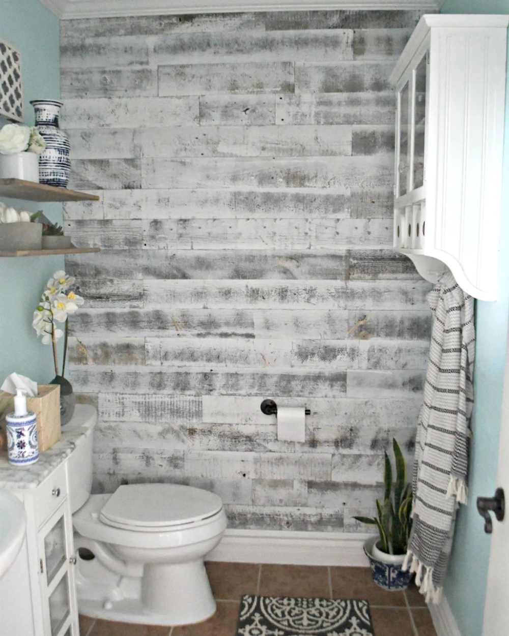 Bathroom Remodel With Stikwood: Peel And Stick Reclaimed Wood Walls