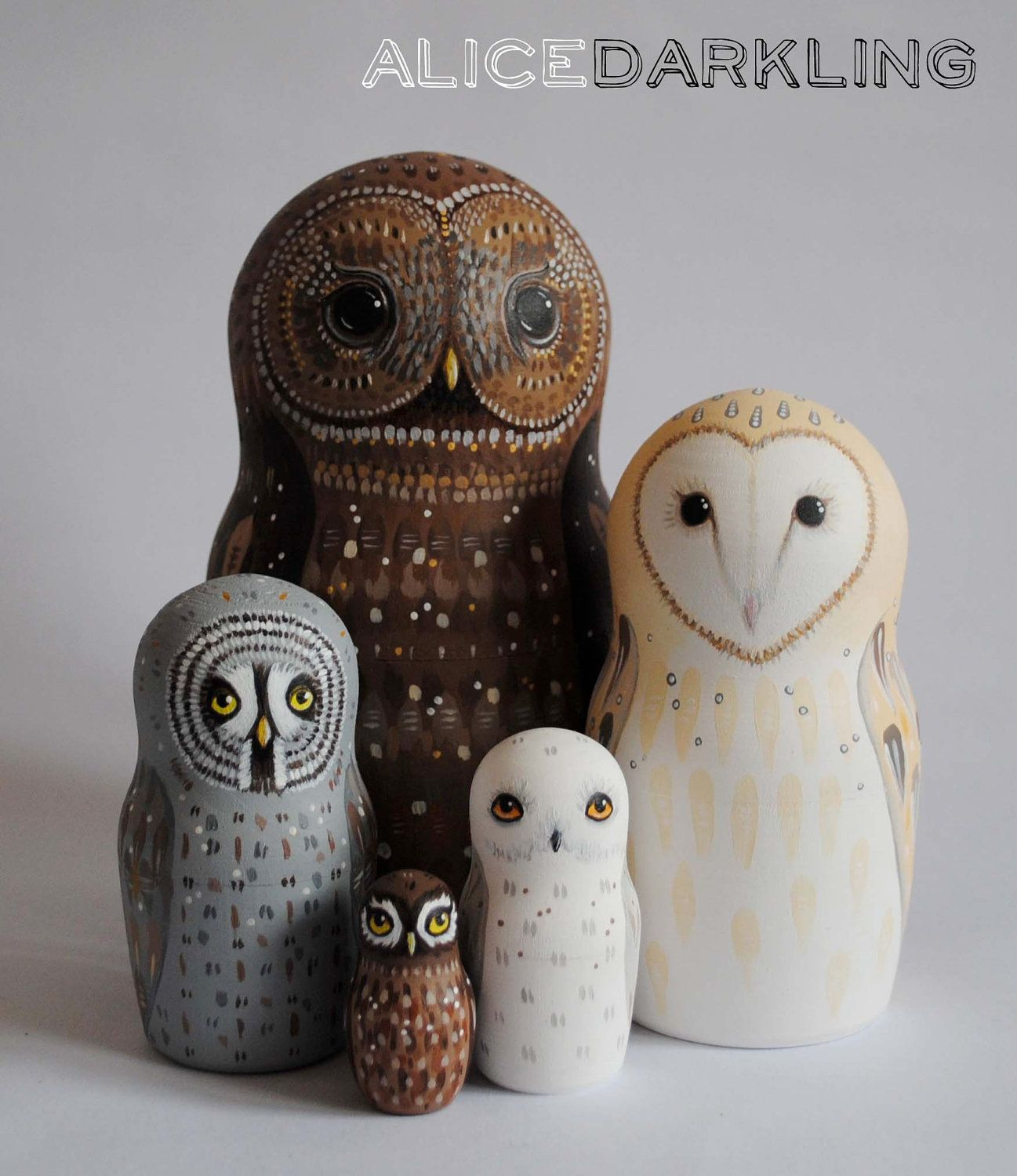 Owl Nesting Dolls (Matryoshka / Russian dolls) - set of 5 hand painted stacking owls | Craft