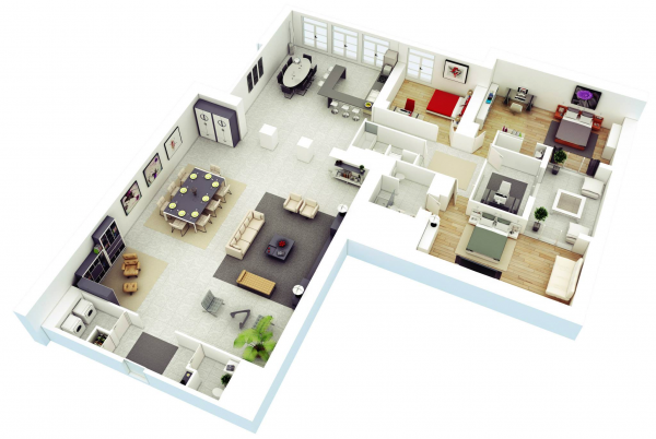 25 More 3 Bedroom 3d Floor Plans L Shaped House Plans Bedroom House Plans House Floor Plans