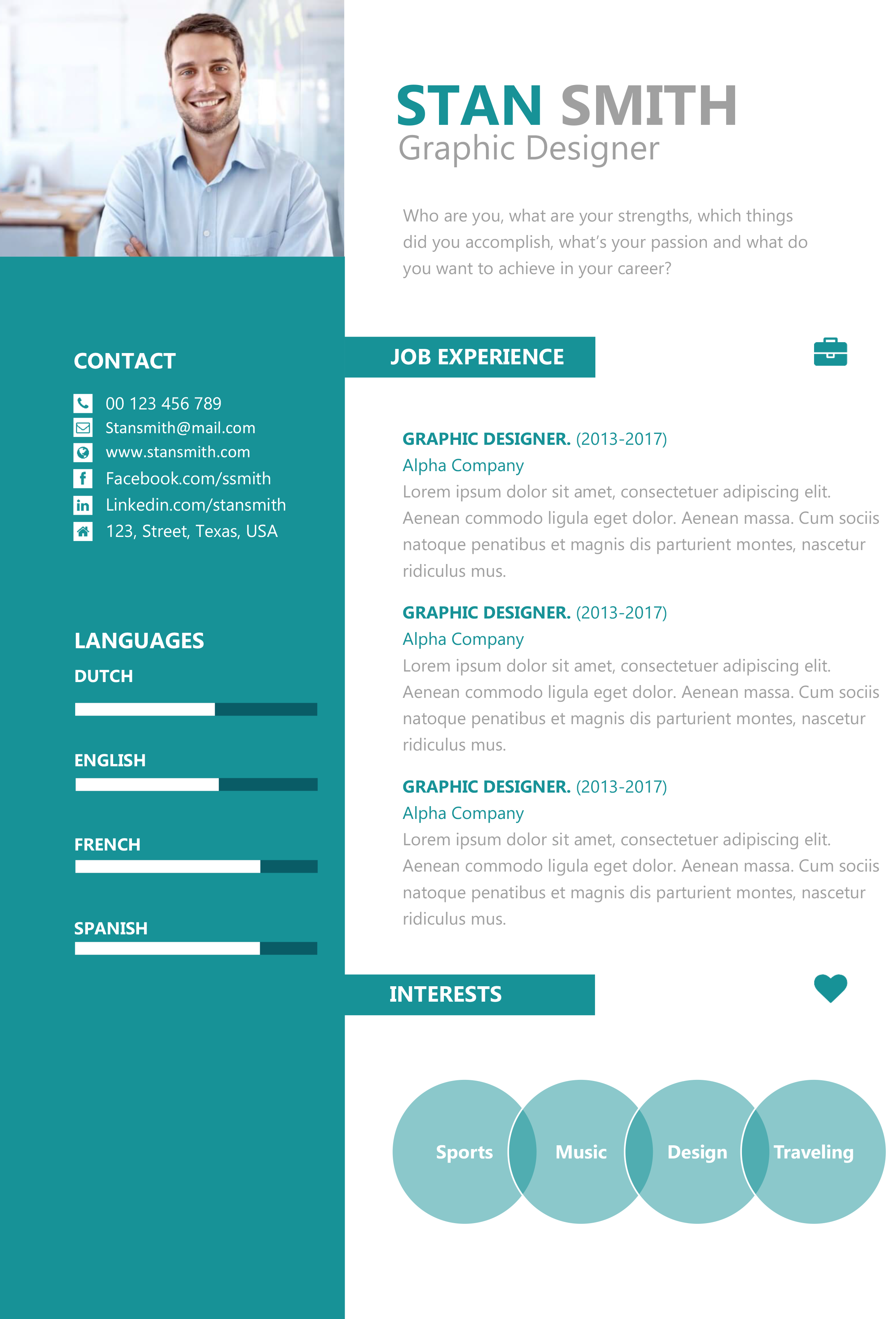 Template Stan Smith Green  Cv Templates    Stan