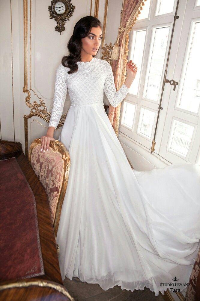 Vintage modest wedding gown Studio Levana | wedding | Pinterest ...