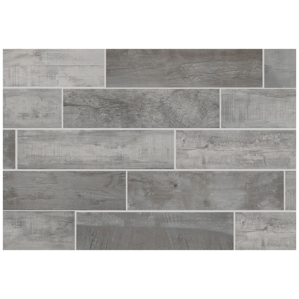 Florida Tile Home Collection Wind River Grey 6 In X 24 Porcelain Floor And Wall 14 Sq Ft Case