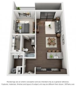 1 Bed 1 Bath 829 Sq Ft Apartment Layout Small House Design Plans Small House Plans