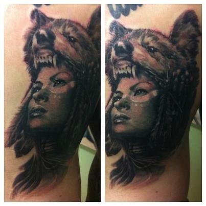 Native Girl With Wolf Headdress Wolf Girl Tattoos Native Tattoos Animal Tattoos